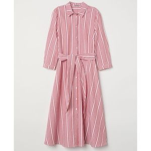 H&M red and white striped dress size 12